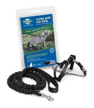 Pet Safe Premier Come With Me Kitty Harness & Bungee Leash Medium Black