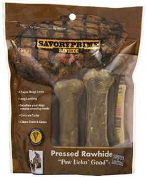 SavoryPrime Pressed Bone Natural 4.5in 6pk