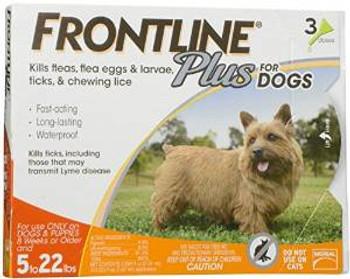 TRUE SCIENCEFrontline Plus Orange Flea And Tick Treatment For Dogs 5-22 Lb. 3 Month Supply
