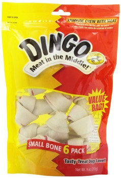 Dingo Value Bags - the Original Meat in the Middle Rawhide Chew.  These Bones have REAL MEAT jerky wrapped in premium rawhide for the BIG taste dogs love. Big Bag savings on the top sellers.  Perfect for multi-dog households.