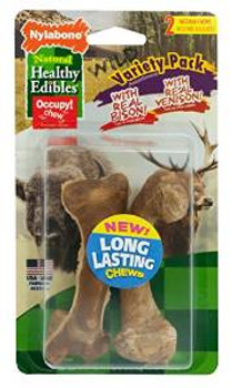 Nylabone Healthy Edibles Wild Variety Venison & Bison Bones Medium 2ct