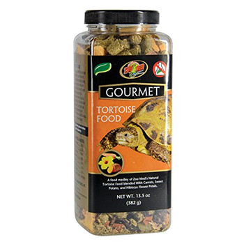 Zoo Med #;s new Gourmet Tortoise Food adds enrichment to your Tortoise #;s diet with the addition of dried Carrots, Hibiscus flower petals, and Sweet Potatoes. Zoo Med has over 30 years of experience researching the nutritional requirements of repti