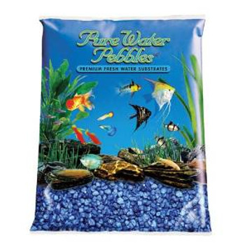 World Wide Imports Pure Water Pebbles Premium Fresh Water Substrates Marine Blue 2lb
