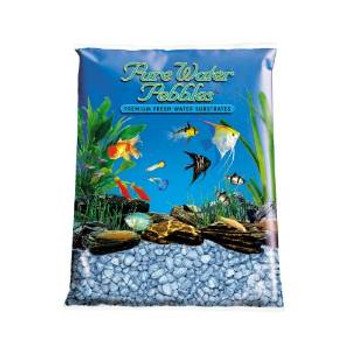 World Wide Imports Pure Water Pebbles Premium Fresh Water Substrates Pastel Blue Frost 25lb