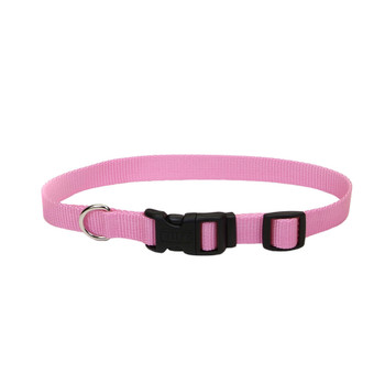 Coastal Adjustable Nylon Collar With Tuff Buckle Bright Pink 5/8x14in