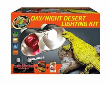 Zoo Med #;s Day/Night Desert Lighting Kit Includes: Mini Combo Deep Dome: Dual ceramic sockets for use with lamps up to 160 watts (each socket). Dual on/off switches for greater convenience. Repti Basking Spot Lamp 75 watt: Unique double reflector desi