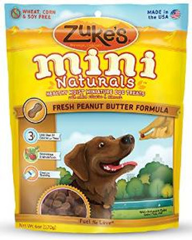 Zukes Mini Naturals Healthy Miniature Dog Treats Peanut Butter 6oz