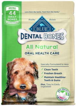 """Blue buffalo treats help your little buddy maintain great dental hygiene. Because a puppy has special needs, these dental chews are textured to help soothe sore and aching gums during teething. They also include DHA for cognitive development, Taurine"""""""