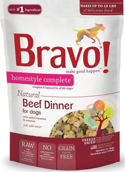 """Now you can serve your dog a real, homestyle meal brimming with high quality animal proteins and nutrients thats incredibly easy to make. To create Homestyle Complete Dinners, we start with premium, raw, freeze dried meat or poultry as the 1 ingredi"""""""