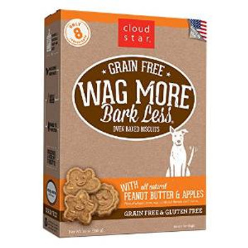 Cloud Star wag More Bark Less Grain Free Oven Baked Treats With Peanut Butter And Apples 14z