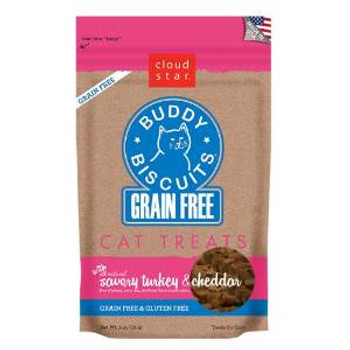 Cloud Star Grain Free Buddy Biscuits For Cats - Savory Turkey & Cheddar 3oz