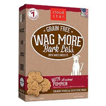 Cloud Star wag More Bark Less Grain Free Oven Baked Treats With Pumpkin 14z