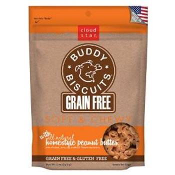 Cloud Star Grain Free Soft & Chewy Buddy Biscuits Dog Treats - Homestyle Peanut Butter 5oz
