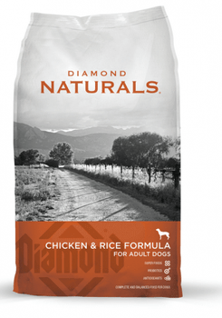 """The 26% protein and 16% fat formula will provide your dog with the nutrients necessary for optimal health and an active life. Diamond Naturals Chicken & Rice Adult Formula Dry Dog Food contains guaranteed levels of vitamin E and selenium to ensure th"""""""