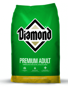 """Diamond Premium Adult Formula Dry Dog Food is specially designed to give active, athletic dogs the nutritional support they need to stay in peak physical condition at work or play. Formulated with a precise balance of high quality protein and fat to"""""""