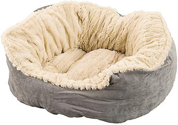 """Ethical Sleep Zone 21"""" Gray Plush Bed Carved"""