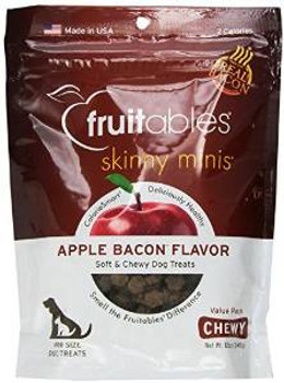 Fruitables Skinny Minis Apple Bacon Chewy Dog Treats 12z Case of 8