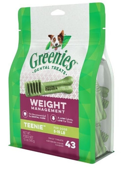 One GREENIES Weight Management Dental Treat is all it takes for clean teeth, fresh breath and a happy dog. Your dog can #;t wait to sink their teeth into these delicious dental dog treat because they feature a unique texture that #;s not only enjoya