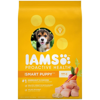 DHA for Smart Puppies Veterinarians Recommend Iams 1st Ingredient is Chicken Premium Puppy 1-12 Months 100% Complete   Balanced 60 Years  of Nutritional  Excellence. Making every step a happy one. Iams Smart Puppy raises your pup #;s training potential