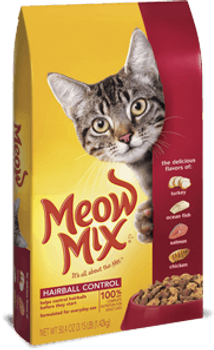 Specially formulated to help control hairballs before they start, Meow Mix Hairball Control Cat Food is a tasty mix of chicken, turkey, salmon & ocean fish flavors. Essential nutrients and minerals supplement high-quality protein in a wholesome recip""