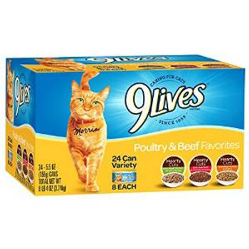 JM SMUCKER Delmonte 9 Lives Variety Pack Poultry & Beef 24/5.5oz