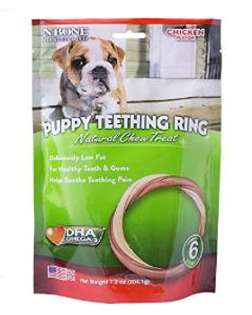 N-bone Puppy Teething Ring Chicken Flavor 6 Packn-bone