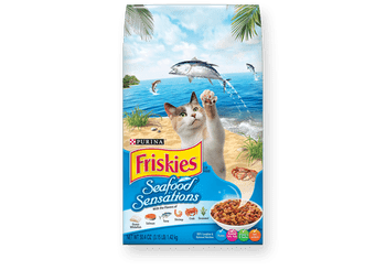 """Friskies Seafood Sensations Dry Cat Food Welcome to paradise. It's a seaside adventure for your seafood-loving cat, with enticing aromas, appealing shapes and an ocean full of flavor. Ocean fish, tuna, salmon and crab with a touch of seaweed come tog"""""""