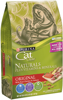 """Natural nutrition Plus Vitamins and Minerals and a taste cats love, combined in a convenient 13lb bag. Purina Cat Chow Naturals is a dry cat food ideal for everyday feeding, with 100% complete & balanced nutrition that provides the 25 essential vitam"""""""