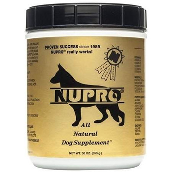 All natural dog supplement has glucosamine complex msm and ester-c which enriches the original formula that is high in vitamins, minerals, enzymes, amino acids and essential fatty acids along with the extra ingredients to help possible joint problems""