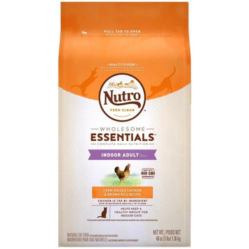 Cats need high-quality proteins and healthy nutrients. NUTRO Indoor Adult Cat Chicken   Whole Brown Rice Recipe is made with real chicken as the #1 ingredient, and whole brown rice for easy digestion. Our premium indoor cat food is formulated with an idea