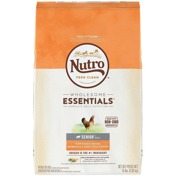 NUTRO WHOLESOME ESSENTIALS Senior Chicken, Brown Rice   Sweet Potato Recipe Dog Food always starts with great tasting, chicken and is made a unique blend of whole grains, vegetables and fruit. This recipe is crafted to help maintain your senior dog #;s