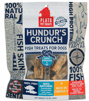 Hundur's Crunch Jerky Fingers are part of our new Icelandic Fish line of treats. Jerky Fingers have only TWO ingredients, Cod Skin & Golden Redfish Skin. These treats have NO added sugars, artificial preservatives, by-products, artificial colors, or""