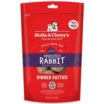 """Give your dog a reason to howl with Stella & Chewy's Absolutely Rabbit Freeze-Dried Dinner Dog Food! Your pets taste buds will run with the rabbits in the fields, the very rabbits that make up this delicious, freeze-dried meal that provides your can"""""""