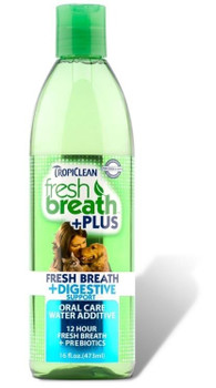"""Fresh Breath + Digestive Support is specifically designed to clean teeth and freshen breath while also helping to promote a healthy digestive system. Using natural prebiotic sources from chicory root and larch trees, our water additive helps feed the"""""""