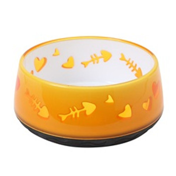 Catit Plastic Bowl Fish Pattern Orange {requires 3-7 Days before shipping out}