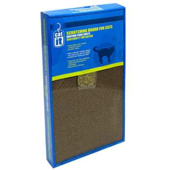 """A cat's need to scratch is instinctive. It helps them to sharpen and remove the dead outer layer of their claws, stretch and flex their bodies and work off energy. The Catit Scratching Board with Catnip provides your cat with a corrugated scratching"""""""