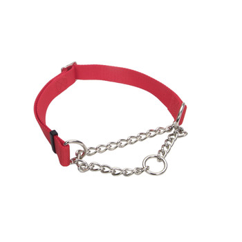 Coastal Check Training Collar For Dogs Adjustable Red 3/4x14-20in