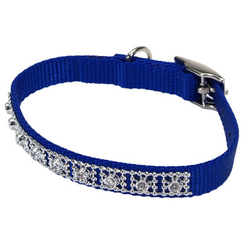 Coastal Nylon Jeweled Collar Blue 3/8x10in