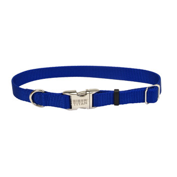 Coastal Adjustable Nylon Collar With Titan Metal Buckle Blue 3/4x14-20in