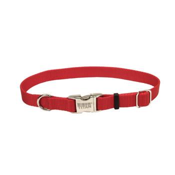 Coastal Adjustable Nylon Collar With Titan Metal Buckle Red 3/4x14-20in