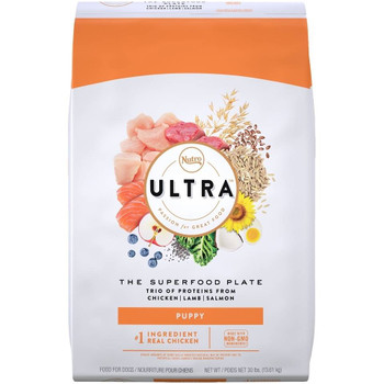 ULTRA Dry Puppy Food is made with nutrient-dense, natural ingredient blends, containing high levels of antioxidants and DHA. Our natural puppy food promotes a healthy heart, a strong immune system and healthy brain development. Puppies burn a lot of energy and calories throughout the day; that's why we have a specially formulated, natural, dry puppy kibble recipe that's easy to chew and full of the best natural ingredients to help puppies grow big and strong.