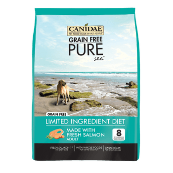 """Pure Sea with Salmon We've changed our Grain Free PURE Sea formula to include just 8 ingredients-along with natural flavors, vitamins, minerals, and probiotics. Our new Grain Free PURE Sea recipe is made with fresh salmon, plus high quality salmon me"""""""