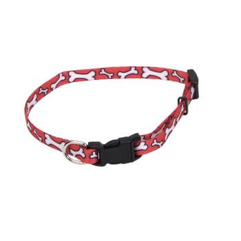 Coastal Li'l Pals Adjustable Patterned Collar Red White Bone 5/16x6-8in