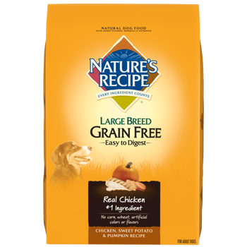 Nature's Recipe Large Breed Grain Free Easy to Digest Chicken, Sweet Potato   Pumpkin Recipe is a flavorful premium dog food with real chicken as the #1 ingredient. Tasty sweet potato and pumpkin are highly digestible, grain-free sources of carbohydrates