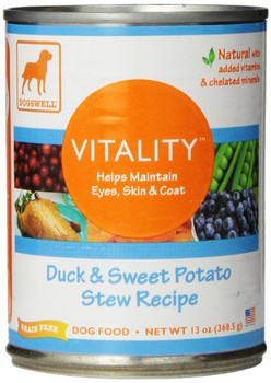 """Dogs well vitality duck & sweet potato - 12 x 13 Oz save on dogs well 12x 13 oz duck & sweet potato can food VI helps maintain eyes, skin, and coat with flaxseed & vitamins.: (note: this product description is informational only. Always check the act"""""""