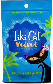 Tiki Cat Velvet Mousse Chicken And Wild Salmon Wet Cat Food Is Made Using Tender Chicken, Wild Alaskan Salmon, Chicken Broth And Sunflower Oil Blended Into Mousse. The Recipe Is High In Protein, Grain Free And Has A High Moisture Content. The Complete And