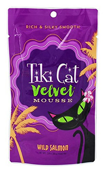 Tiki Cat - Velvet Mousse Cat Food Wild Salmon - 2.8 Oz. (80g) Tiki Cat Velvet Mousse Cat Food Wild Salmon Has Wild-caught Alaskan Salmon, Salmon Broth And Sunflower Oil Blended Into A Creamy Mousse Cats Love. High Protein, With Real Salmon As The 1st Ingr