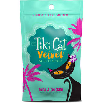Tiki Cat Velvet Mousse Tuna And Chicken Wet Cat Food Is Made Using Wild-caught Tuna, Tender Chicken, Tuna Broth And Sunflower Oil Blended Into Mousse. The Recipe Is High In Protein, Grain Free And Has A High Moisture Content. The Complete And Balanced Die