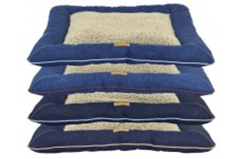 12.5oz Denim, 100% Cotton Large Pillow Bed. Boucle Plush Sleep Area with bolstered walls. Double stitched felled seams for rugged durability. Pet Bed is Machine Washable.