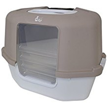 The Catlove Space Saver Corner Hooded Cat Pan Provides Privacy While Retaining The Litter Inside The Pan. The Large Hood Lifts Up For Easy Access For Cleaning, While The Built-in Bag Anchor Helps Keep The Bag Open And Frees Hand For Scooping.   The Catlov